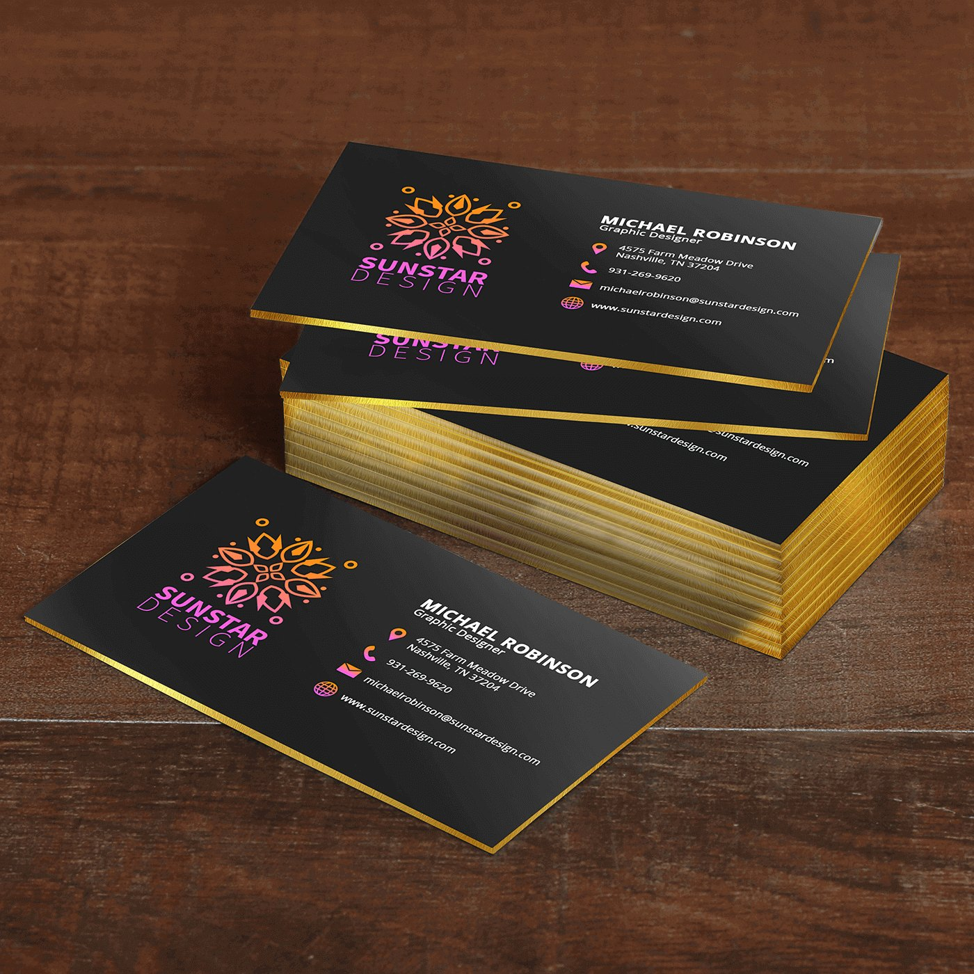 black thick business cards
