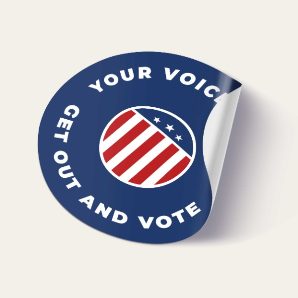 campaign round stickers