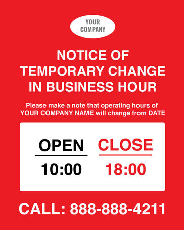Business Hours Window Clings