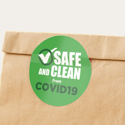 safe and clean green stickers