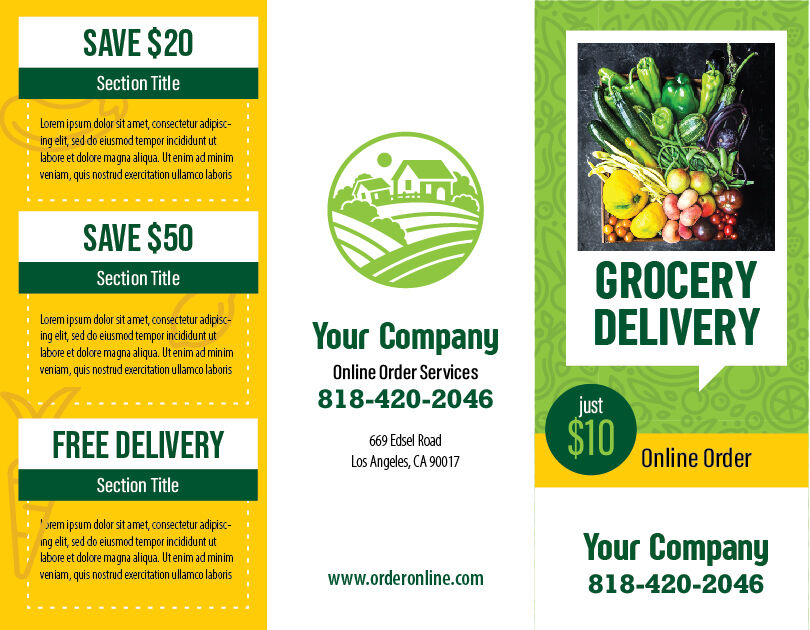 Grocery Delivery Tri-fold Brochure