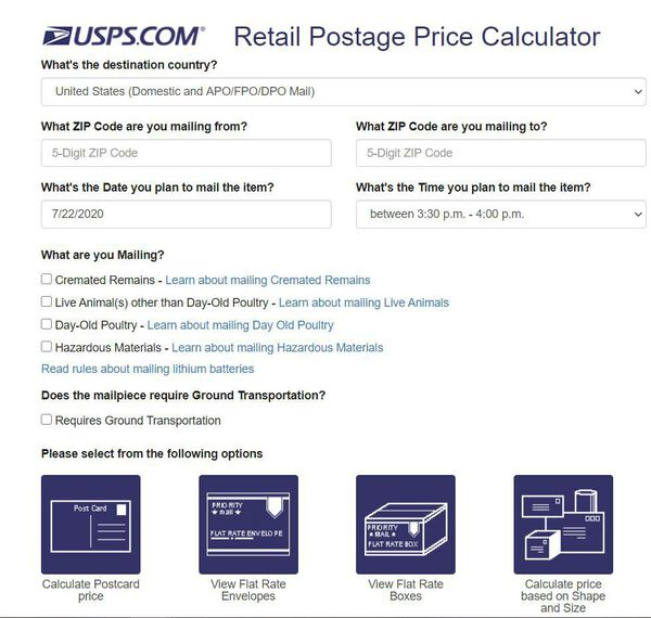usps postage calculator