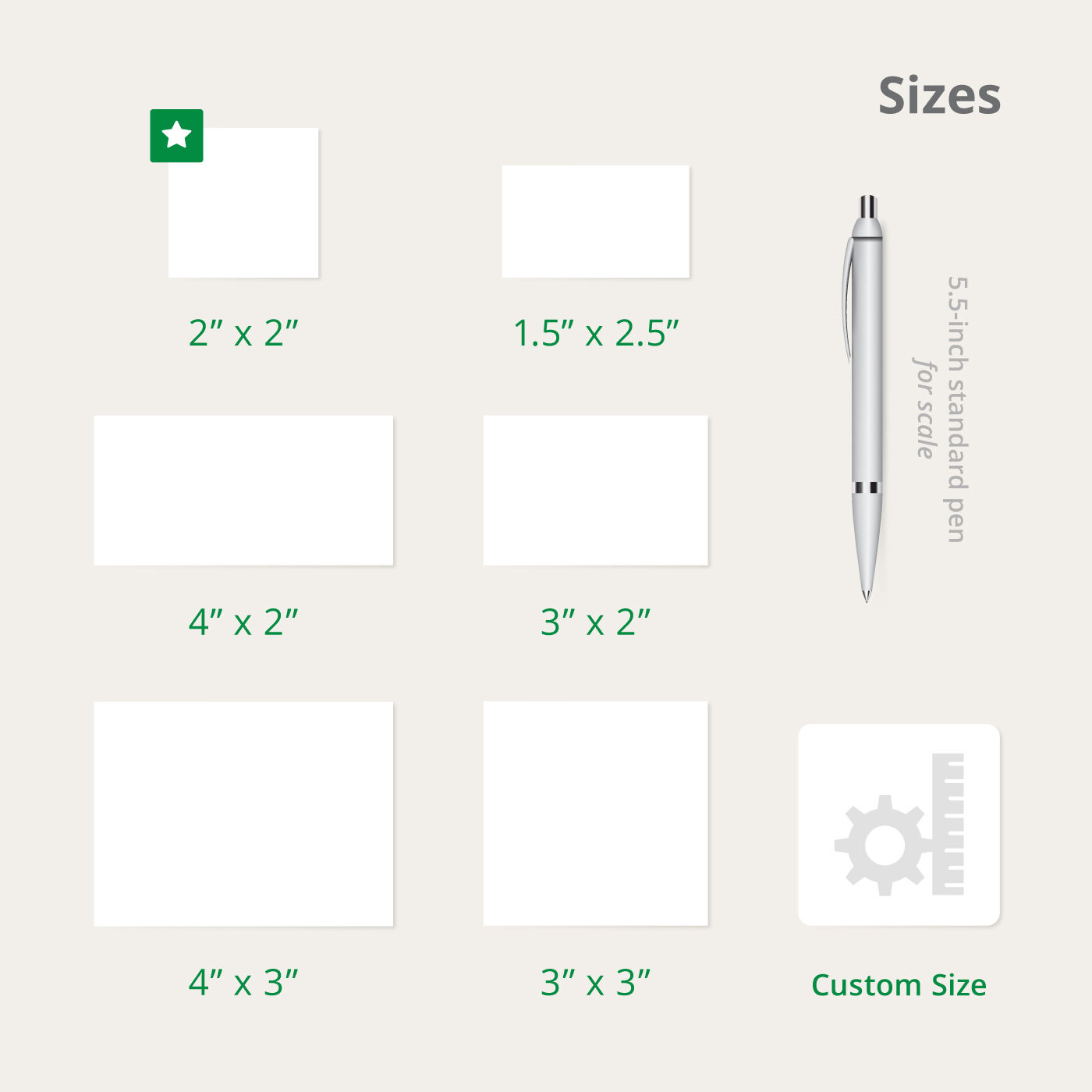 Cut-to-Size Sizes