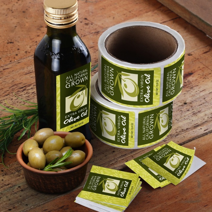 custom vinyl labels on olive oil bottle